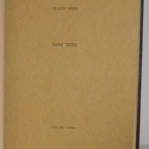 Sans titre de Claude Simon, une de couverture