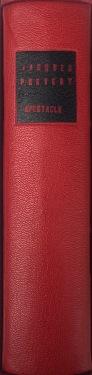 Plein cuir rouge, mosaïques noires évidéées représentant à l'identique le titrage du livre, tranchefile chapiteau bicolore rouge et noire, plats en cuir noir, charnieres en cuir, étui.