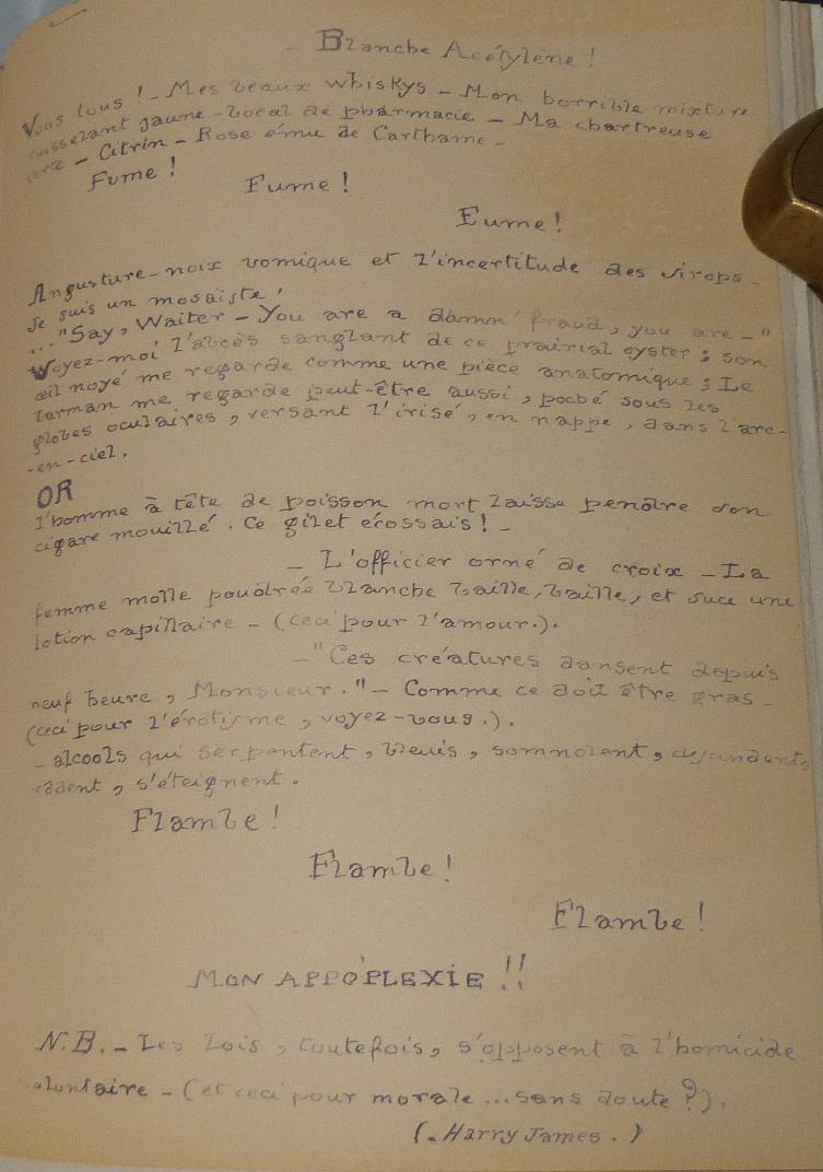 """Poème de J.Vaché : Blanche Acétyléne publiée dans """"Lettres de guerre"""""""