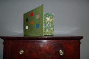 Plein cuir vert, 6 mosaïques rectangulaires de différentes couleurs sur le plat antérieur
