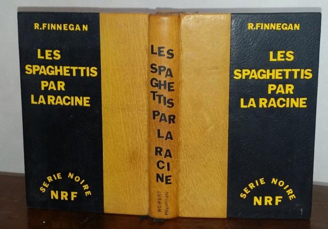 reliure imitation série noire de la NRF. Dos oasis jaune, plats en chagrin noir, lettres auto-adhésives noires et jaunes/