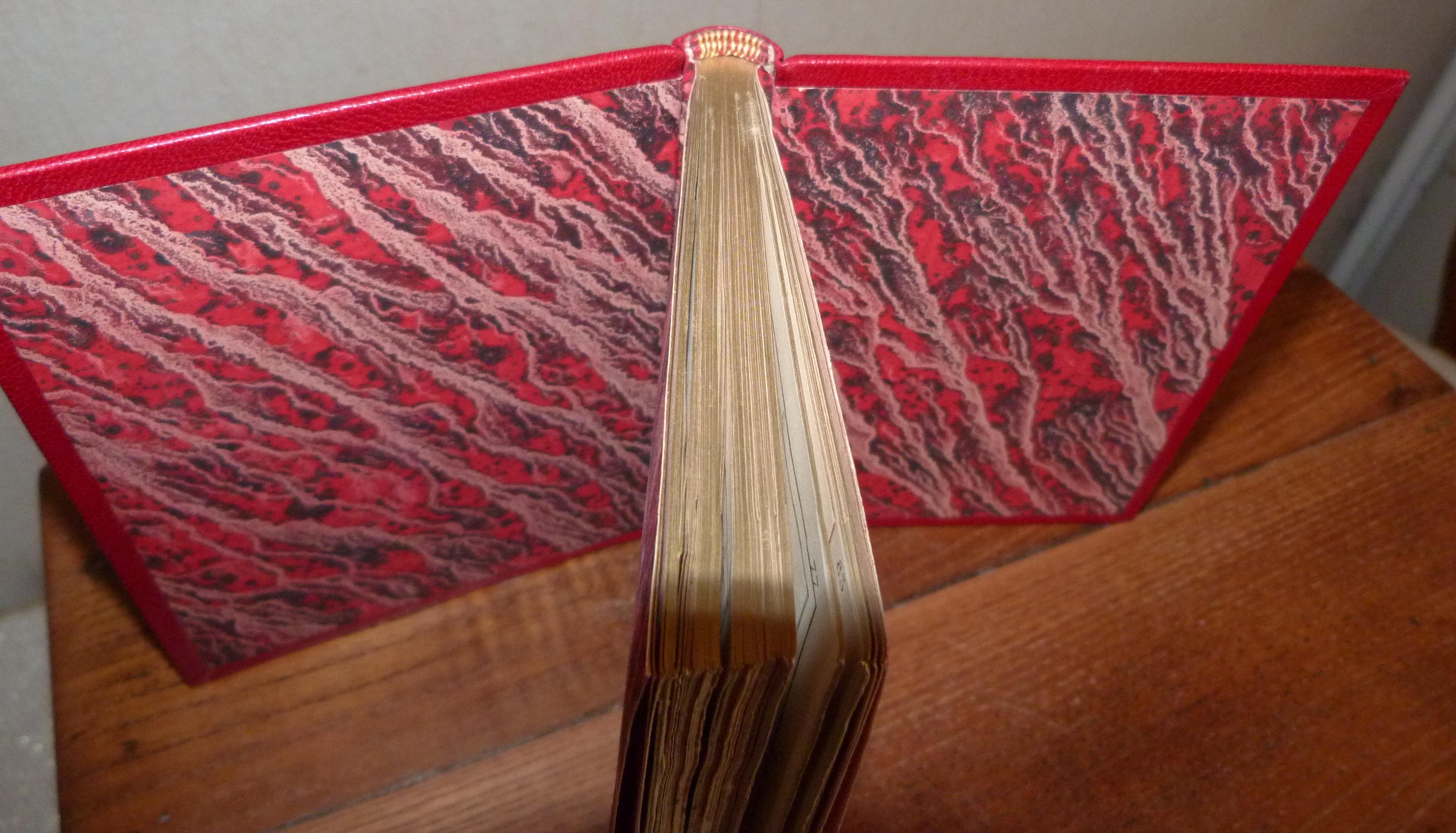 Plein cuir rouge à décors aux petits fers en oasis jaune représentant deux faces de la mappemonde, téte dorée, 5 nerfs double, intérieur des plats