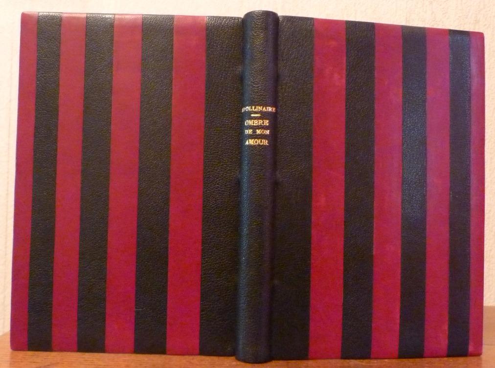 Demi-cuir noir, puis alternance de bandes bordeau et noires, dos lisse, gardes en papier noir.