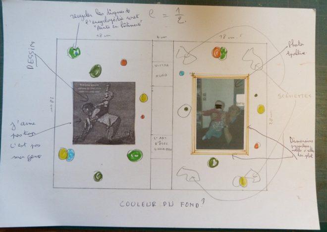Esquisse pour la couverture d'un projet de reliure intégrant une photo et une gravure
