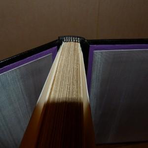 Plein-cuir noir,grands caissons et fleurons dorés en coins, sur chaque plat, gardes en soie (moire) grise, listels violets, tranchefile chapiteau bicolore noire et blanche, boite.