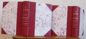 Demi-cuirs-à-coins bordeauxx, papiers cuves bordeaux, tête or, tranchefile chapiteau, cinq gros nerfs se touchant sous le titre.