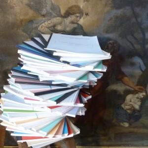 Demi-cuir à coins rouge de la vie de l'amiral Rieunier écrit par le père Xavier Louis