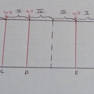 Représentation des tracés à effectuer sur le dos du livre pour déterminer les traits où doit passer la scie à main