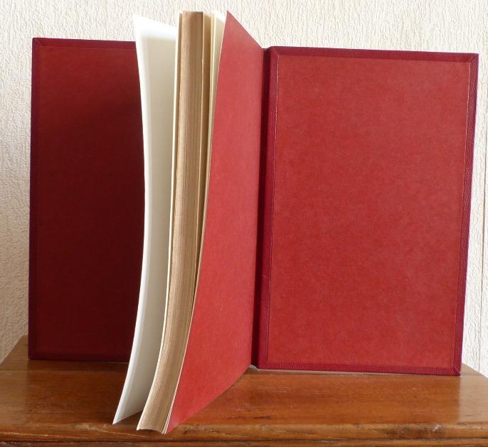Tome 3, demi-cuir rouge à encadrements, décor découpée dans une dalle de vinyle grise, tranchefile cuir bicolore rouge et grise,charnière cuir, étui triple.
