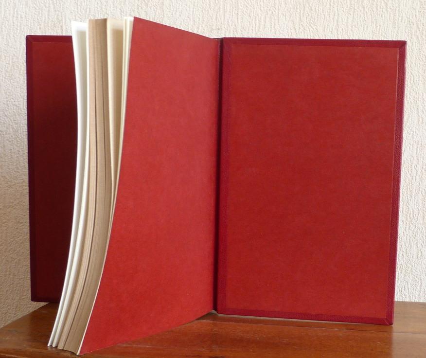 Tome 2, demi-cuir rouge à encadrements, décor découpée dans une dalle de vinyle grise, tranchefile cuir bicolore rouge et grise,charnière cuir, étui triple.