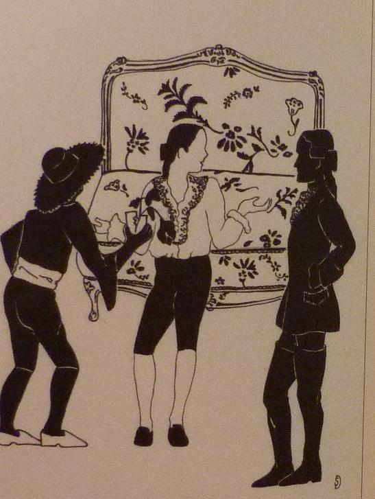 Demi-cuir noir, plats en ardoise, mosaïque en cuir noir et blanc représentant Figaro, 4 nerfs. Gravure dont le personnage est représenté sur le plat antérieur.
