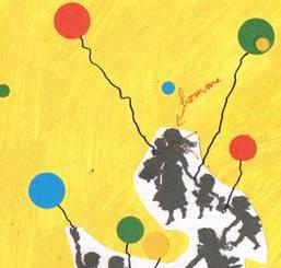 """Deuxième esquisse de la reliure du livre de Victor Hugo : """"L'art d'être grand- père"""". Silhouettes d'enfants aux ballons."""