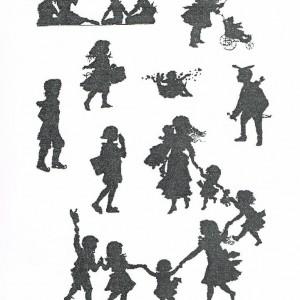 """Deuxième esquisse de la reliure du livre de Victor Hugo : """"L'art d'être grand- père"""". Silhouettes d'enfants."""