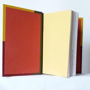 Demi-cuir vert, collé à celui-ci 2 rectangles superposés jaune et rouge, le tout représentant à droite ou à gauche le drapeau béninois. Tranchefile tricolore reprenant le drapeau béninois que l'on retrouve aussi sur la tranche de tête.