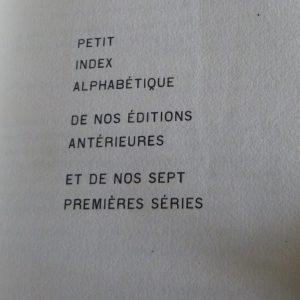 Détail typographique de l'index d'un cahier de la quinzaine (7ème série).
