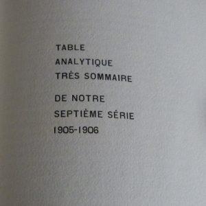 Détail typographique de la table analytique très sommaire d'un cahier de la quinzaine.