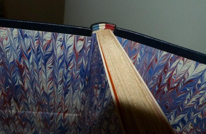 Plein cuir bleu de cet ouvrage patriotique, titre, mosaïque, tranchefile et gardes tricolores (bleu-blanc-rouge)