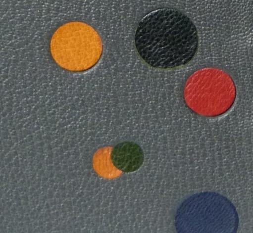 Zoom reliure : disques multicolores de différentes tailles bleu, rouge, vert, jaune et noir