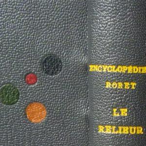 Zoom reliure : titre et disques multicolores incrustés