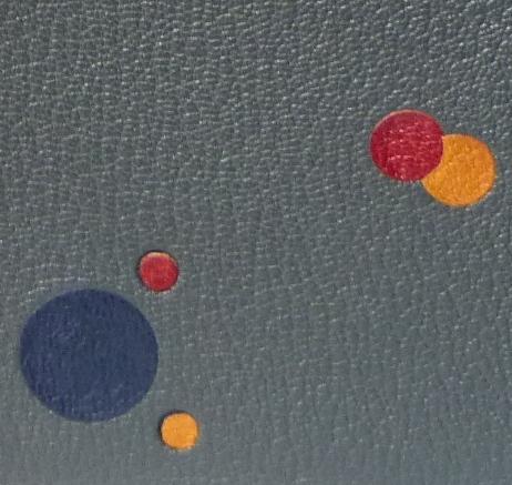 Zoom reliure : disques multicolores de différentes tailles bleu, rouge et jaune