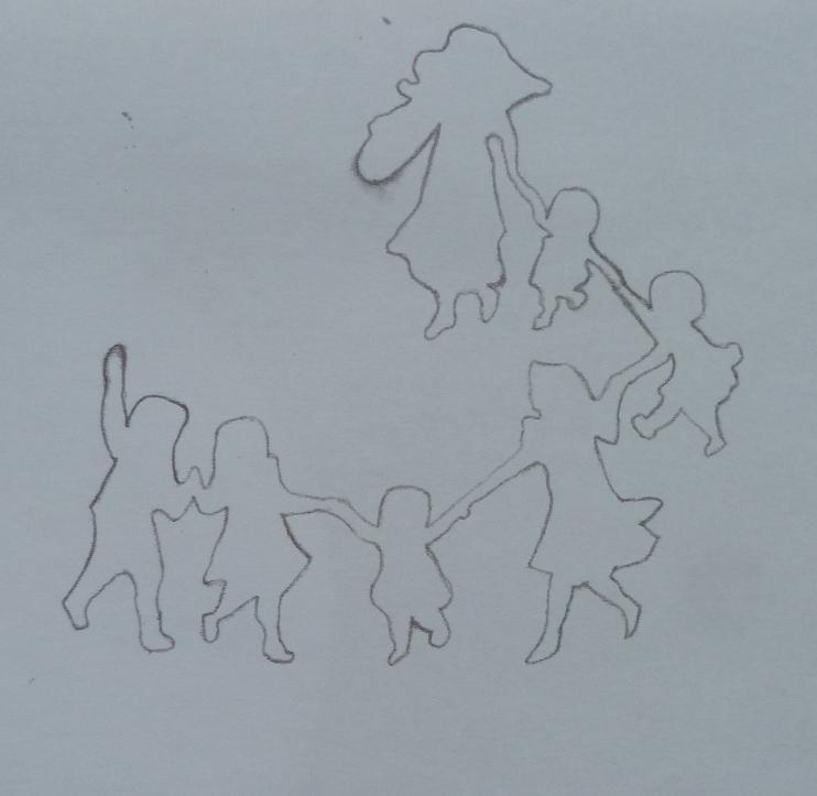 Silhouettes de la ronde des enfants simplifiées