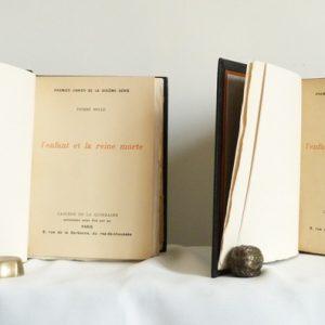 titre-reliure-art-cahier-quinzaine-peguy-pierre-mille-enfant-reine-morte-whatman-plein-cuir-noir-6