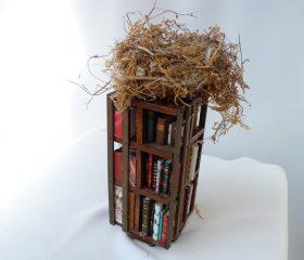 Mini bibliothèque surmontée d'un nid de verdier