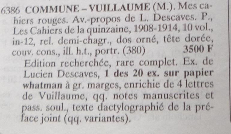 Petite annonce de l'achat des cahiers rouges de Maxime vuillaume.