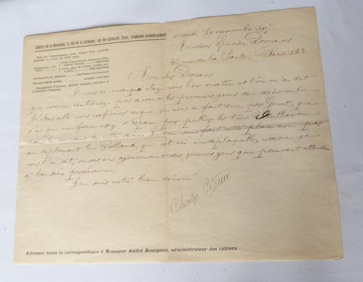 Autographe de Péguy annoncant la parution des trois premiers cahiers rouges.
