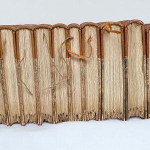 Dessous des 10 tomes des cahiers rouges.