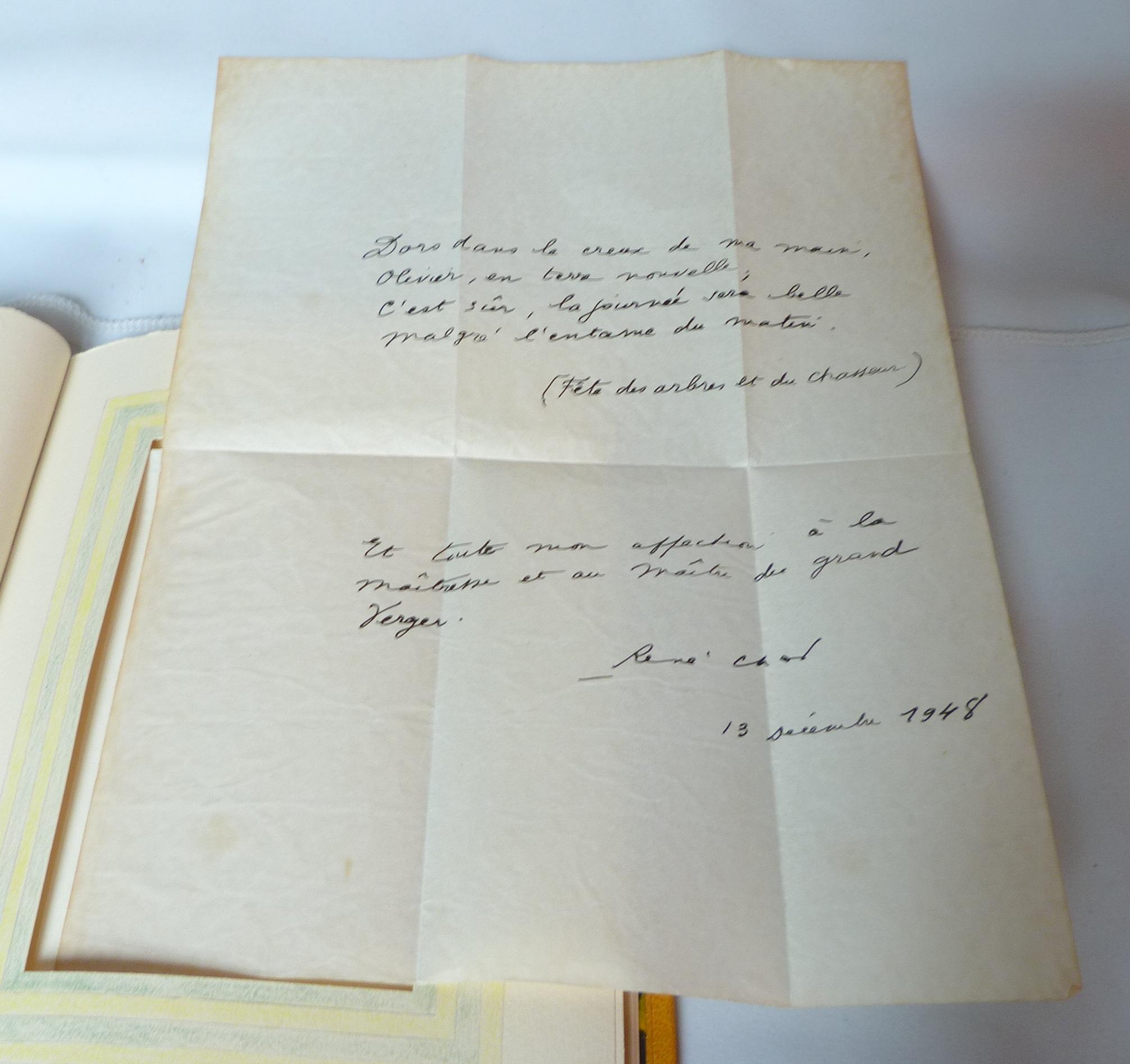 Poème recopié par René Char 13 Décembre 1948