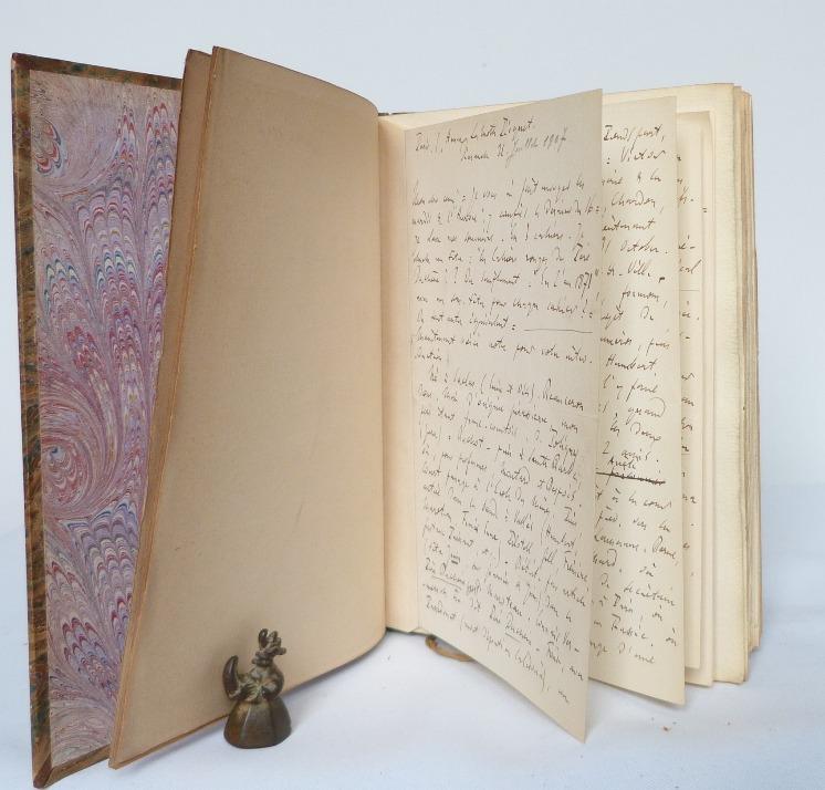 Lettre autographe de Maxime Vuillaume à Lucien Descaves, collée dans le premier des 10 cahiers rouges.