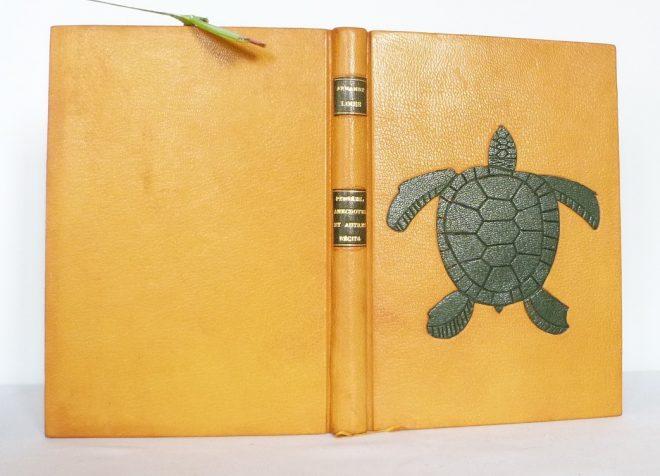 Plein cuir jaune, grande tortue verte mosaïquée sur la une de reliure