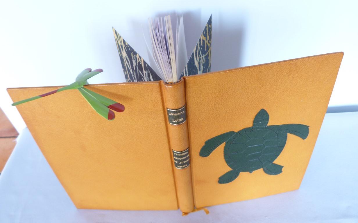 Reliure plein cuir jaune avec une mosaïque verte représentant une tortue. Vue du dessus.