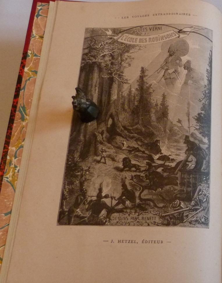 """Frontispice de """"l'école des Robinsons de Jules Verne."""