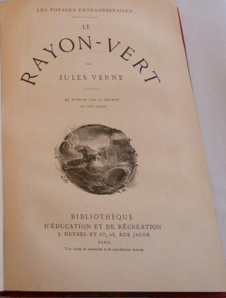 """Page de titre du """"rayon vert"""" de Jules Verne"""
