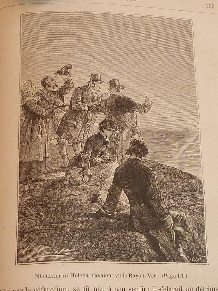 """Gravure de L.Bennet tirée du """"rayon vert"""" de Jules Verne"""