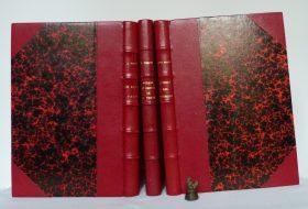 3 romans de Jules Verne, reliés en demi-cuir rouge à coins, utilisation de papier Anonnay rouge.