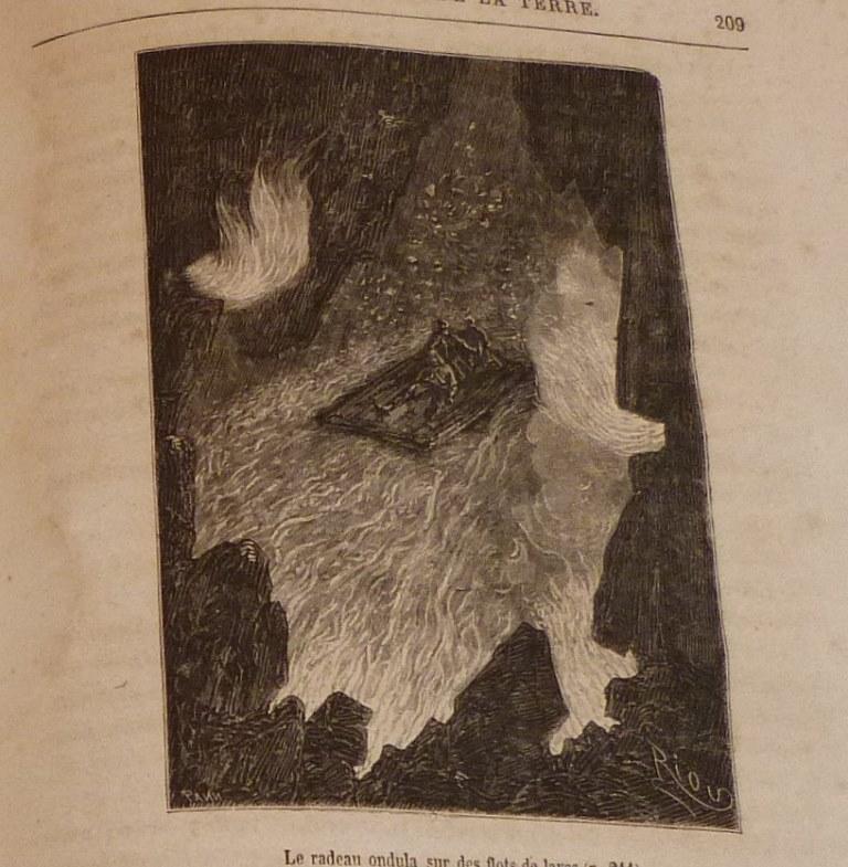 """Gravure de Riou extraite de """"voyage au centre de la terre"""" de Jules Verne."""