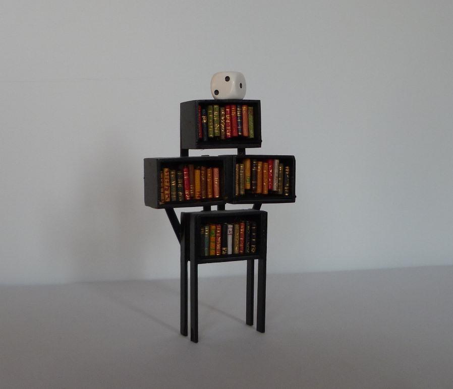 Mini-bibliothèque contenant 39 livres surmontée d'un dé de jeu.