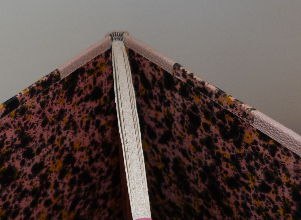 La chevelure de Bérénice : tranchefile bicolore rose et noire