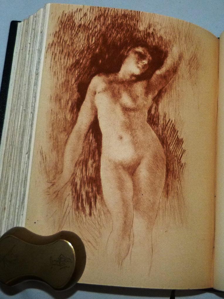 Les fleurs du mal : pointe sèche tirée en sanguine de Henri Le Riche.