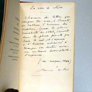 """Poème """"la rose et le chêne"""" recopié à la main par René Char."""