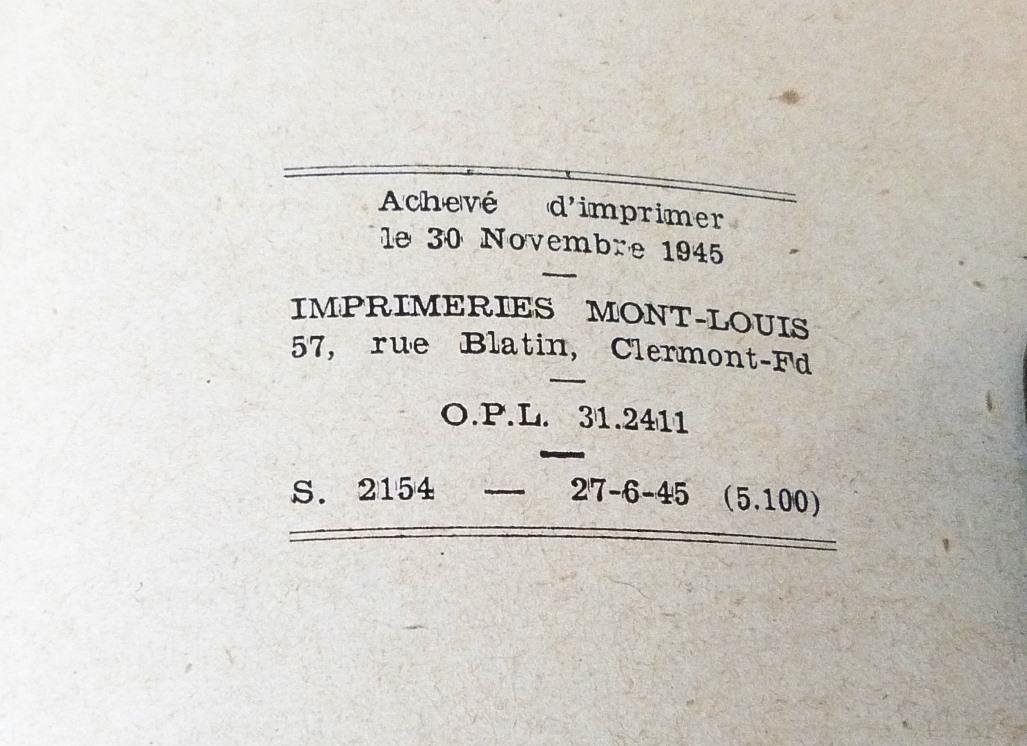 Le tricheur de Claude Simon, justificatif de l'imprimerie.