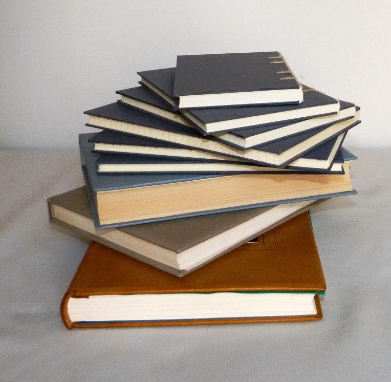 reliures en cours de réalisation : 9 ouvrages