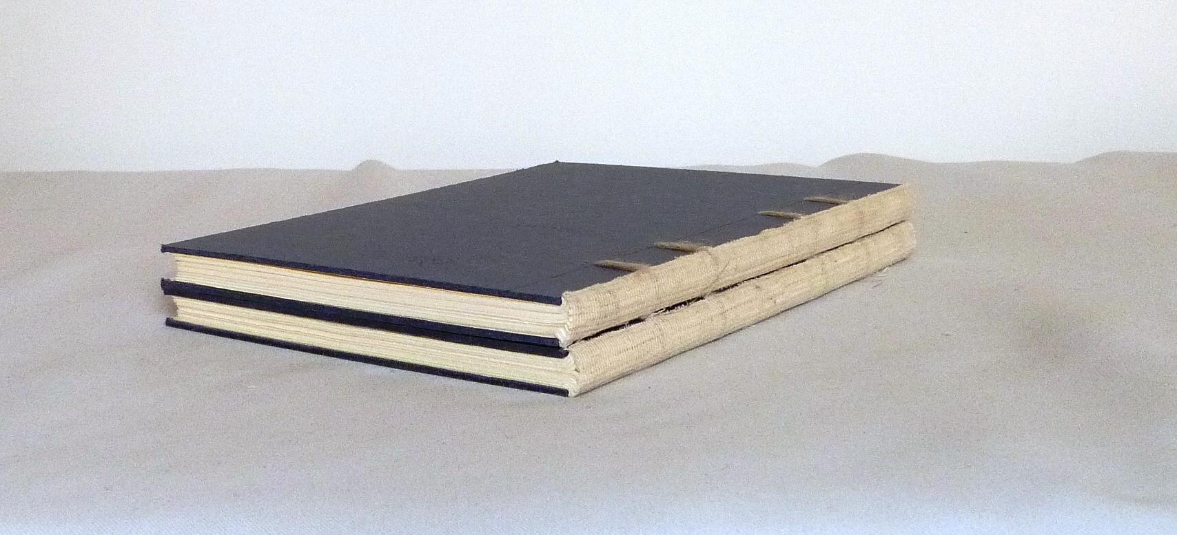 reliures en cours de réalisation : 2 carnets non rognés