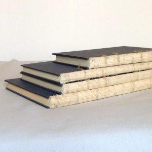 reliures en cours de réalisation : 4 carnets rognés