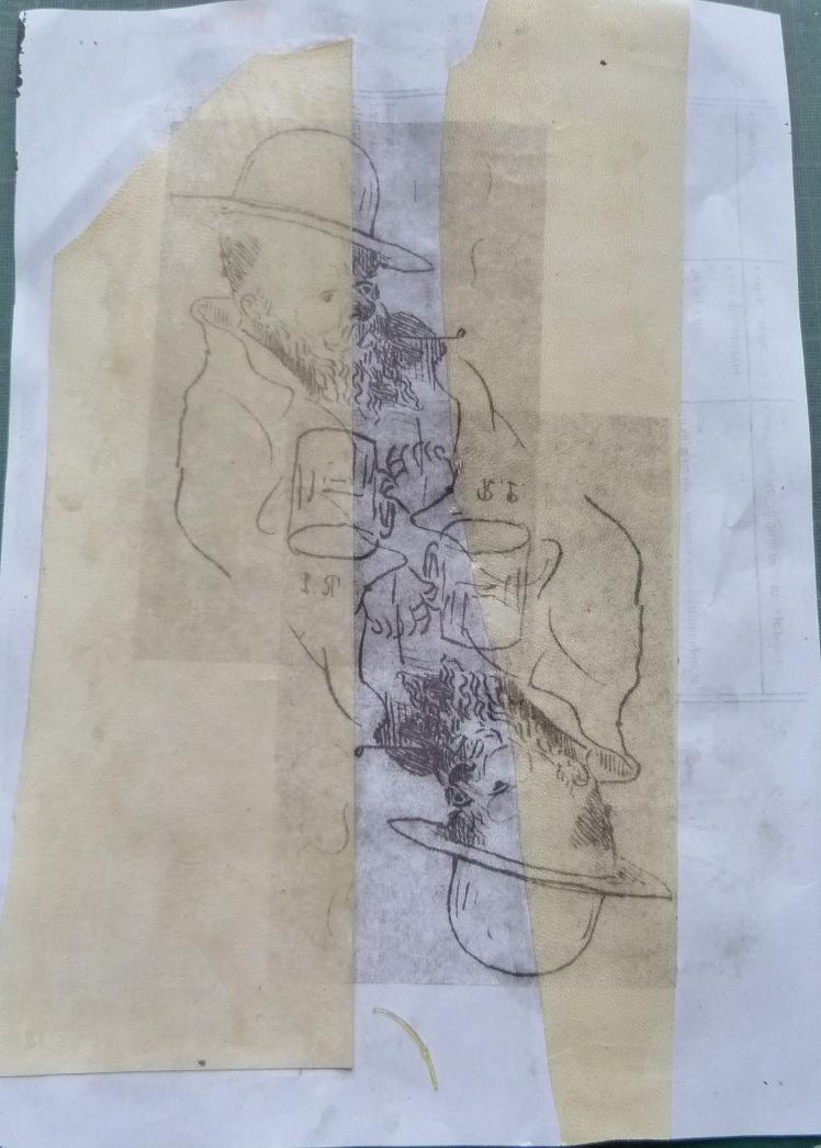 Incrustation d'un parchemin décoré à la photocopieuse, essais de qualité.
