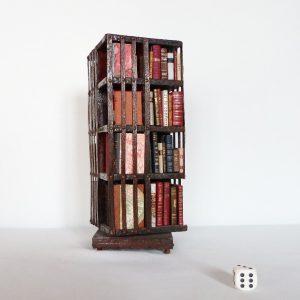 Bibliothèque anglaise pivotante miniature, 4 faces.