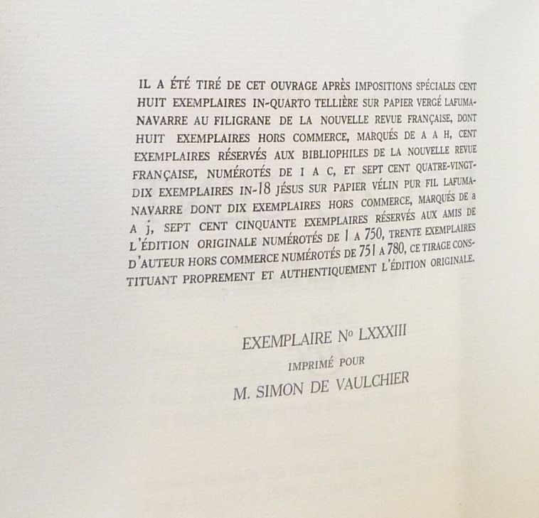 Douze cent mille de Luc Durtain, plein cuir. Notoficaation du tirage.